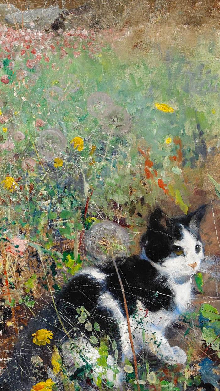 Bruno Liljefors - Cat on flowerbed 1080x1920