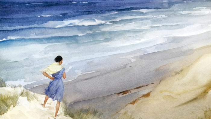 William Russell Flint - Roxanna in a breeze 1920x1080