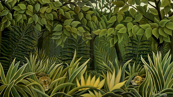 Henri Rousseau - Two lions on the lookout in the jungle 2560x1440