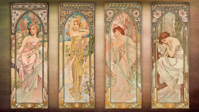 Alfons Mucha - The Times of the Day (series) 2560x1440