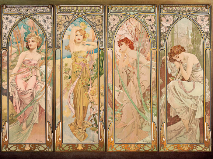Alfons Mucha - The Times of the Day (series) 2732x2048