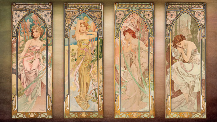 Alfons Mucha - The Times of the Day (series) 3840x2160