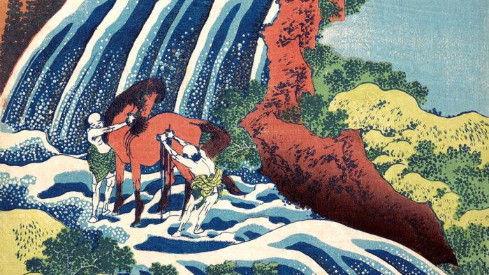 Katsushika Hokusai - Yoshino umaarai no taki 1920x1080
